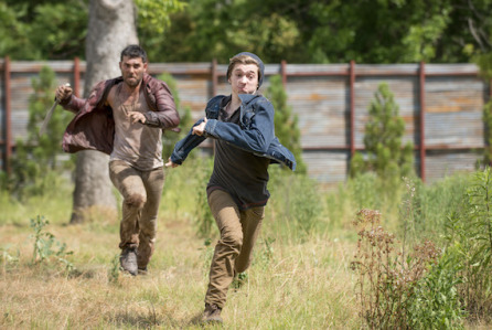 Alec Rayme as Shaved Head Wolf  and Austin Abrams as Ron Anderson - The Walking Dead _ Season 6, Episode 2 - Photo Credit: Gene Page/AMC