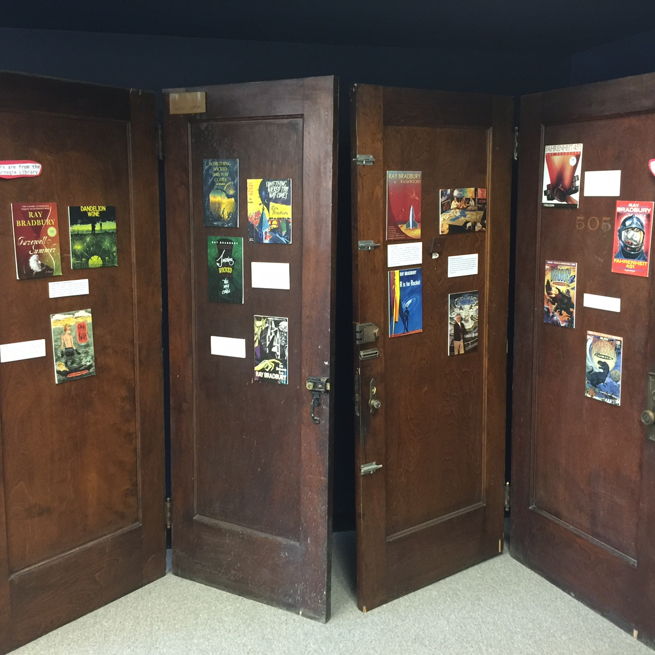 The Carnegie Library doors, currently on display at the Ray Bradbury Carnegie Library hub