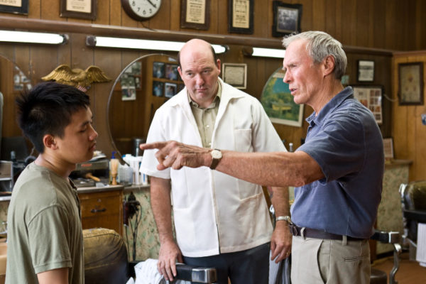 "(L-r) Thao (BEE VANG), Martin (JOHN CARROLL LYNCH) and Walt Kowalski (CLINT EASTWOOD) in Warner Bros. Pictures' and Village Roadshow Pictures' drama ""Gran Torino,"" distributed by Warner Bros. Pictures. PHOTOGRAPHS TO BE USED SOLELY FOR ADVERTISING, PROMOTION, PUBLICITY OR REVIEWS OF THIS SPECIFIC MOTION PICTURE AND TO REMAIN THE PROPERTY OF THE STUDIO. NOT FOR SALE OR REDISTRIBUTION."