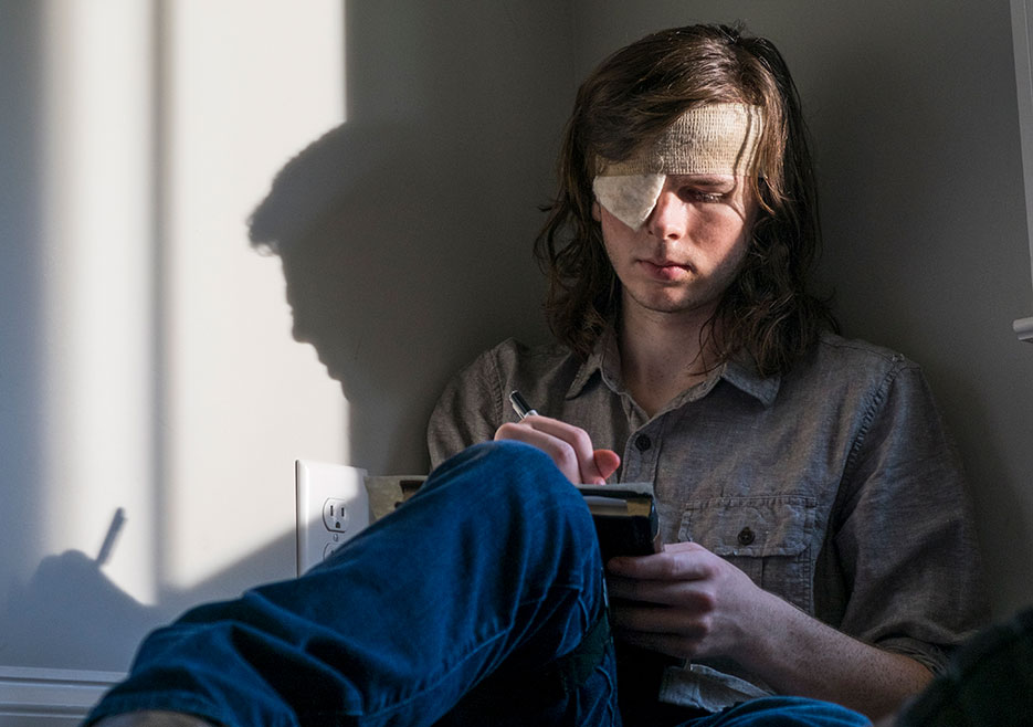 Chandler Riggs as Carl on The Walking Dead Season 8